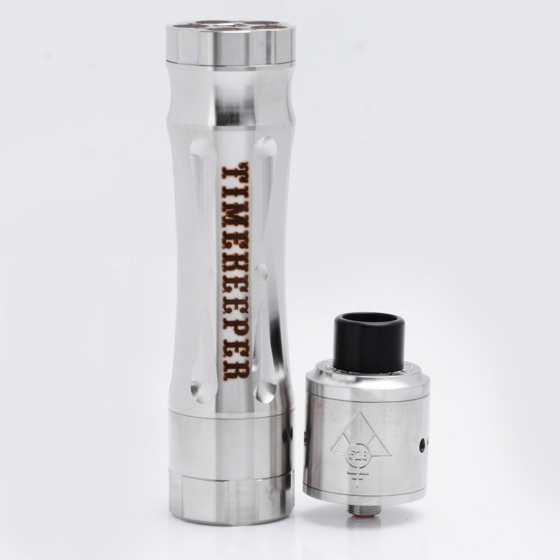 AV Revolver Timekeeper Time Keeper Style Mechanical Mod + Goon RDA - Silver, Stainless Steel, 1 x 18650