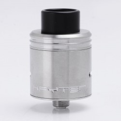 Kryten Style RDA Rebuildable Dripping Atomizer w/ Bottom Feeder Pin / PEI Top Tap - Silver, Stainless Steel, 24mm Diameter