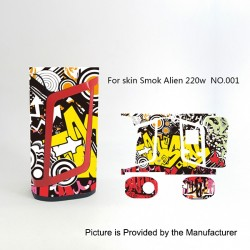 Self-adhesive Skin Sticker Wrap Cover for SMOKTech SMOK Alien Mod - Multicolored, PVC, No.001