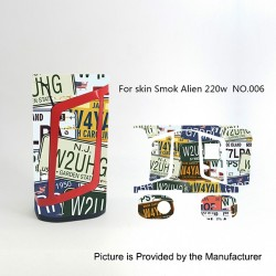 Self-adhesive Skin Sticker Wrap Cover for SMOKTech SMOK Alien Mod - Multicolored, PVC, No.006