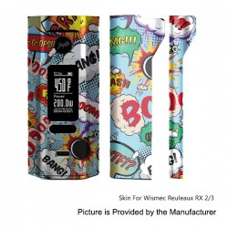 Self-adhesive Skin Sticker Wrap Cover for Wismec Reuleaux RX2/3 Mod - Multicolored, PVC, Type 10