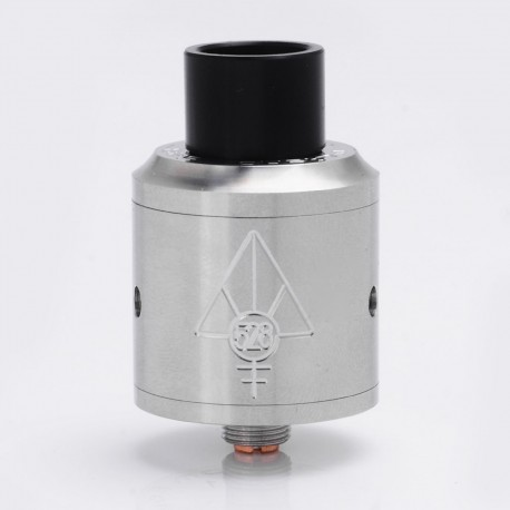 SJMY Goon Style RDA Rebuildable Dripping Atomizer w/ Wide Bore Drip Tip - Silver, Stainless Steel, 24mm Diameter