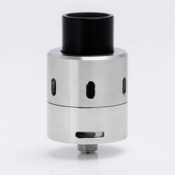 Velocity 24 Style RDA Rebuildable Dripping Atomizer w/ Bottom Feeder Pin - Silver, Stainless Steel, 25.7mm Diameter