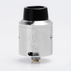 Goon V4 Style RDA Rebuildable Dripping Atomizer w/ Wide Bore Drip Tip / BF Pin - Silver, Stainless Steel, 24mm Diameter
