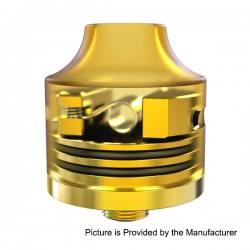 Authentic Oumier Wasp Nano Mini RDA Rebuildable Dripping Atomizer - Gold, Brass + Glass, 22mm diameter, 3ml