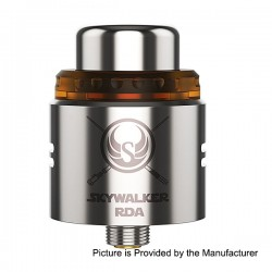 Authentic YouDe UD Skywalker RDA Rebuildable Dripping Atomizer w/ Bottom Feeder Pin - Silver, Stainless Steel, 24mm Diameter