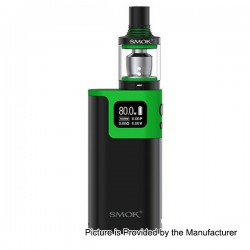 Authentic SMOKTech SMOK G80 80W TC VW Variable Wattage Box Mod + Spirals Tank Kit - Black + Green, 2ml, 6~80W, Standard Edition