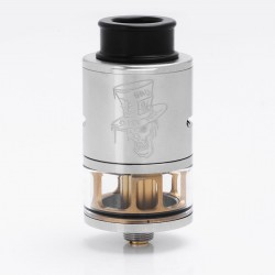 Authentic ADVKEN Mad Hatter RDTA Rebuildable Dripping Tank Atomizer - Silver, Stainless Steel + Glass, 3.5ml, 24mm Diameter