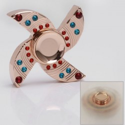 Quad-Spinner Hand Fidget Focus Toy EDC w/ Crystal - Rose Gold, Brass, 608 Ceramic Bearings