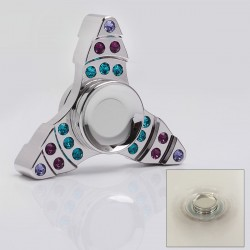 Tri-Spinner Hand Fidget Focus Toy EDC w/ Crystal - Silver, Brass, 608 Ceramic Bearings