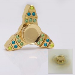 Tri-Spinner Hand Fidget Focus Toy EDC w/ Crystal - Gold, Brass, 608 Ceramic Bearings