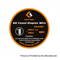 Authentic GeekVape SS316L Fused Clapton Heating Wire for RBA Atomizers - Silver, 26GA x 2 + 30GA, 3m (10 Feet)