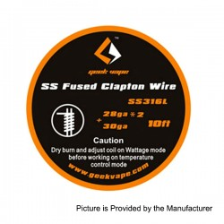 Authentic GeekVape SS316L Fused Clapton Heating Wire for RBA Atomizers - Silver, 28GA x 2 + 30GA, 3m (10 Feet)
