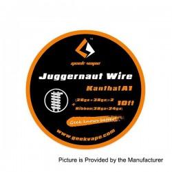 Authentic GeekVape SS316L Juggernaut Heating Wire - Silver, (28GA + 38GA) x 2 + Ribbon (38GA + 24GA), 3m (10 Feet)
