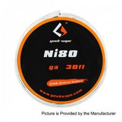 Authentic GeekVape Ni80 26GA Heating Resistance Wire for RBA / RDA / RTA - Silver, 0.4mm x 10m (30 Feet)
