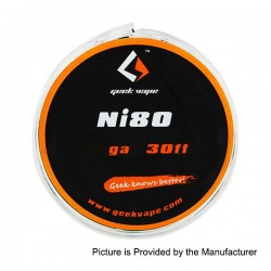 Authentic GeekVape Ni80 28GA Heating Resistance Wire for RBA / RDA / RTA - Silver, 0.3mm x 10m (30 Feet)