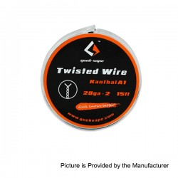Authentic GeekVape Twisted kanthal A1 Heating Wire for RBA Atomizers - Silver, 28GA x 2, 5m (15 Feet)