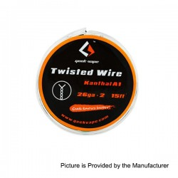 Authentic GeekVape Twisted kanthal A1 Heating Wire for RBA Atomizers - Silver, 26GA x 2, 5m (15 Feet)