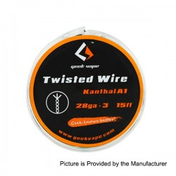 Authentic GeekVape Twisted kanthal A1 Heating Wire for RBA Atomizers - Silver, 28GA x 3, 5m (15 Feet)