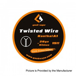 Authentic GeekVape Twisted Kanthal A1 Heating Wire for RBA Atomizers - Silver, 26GA + Ribbon, 5m (15 Feet)