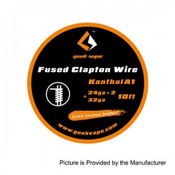 Authentic GeekVape Kanthal A1 Fused Clapton Heating Wire for RBA Atomizers - Silver, 24GA x 2 + 32GA, 3m (10 Feet)