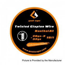 Authentic GeekVape Twisted Clapton Heating Wire for RBA Atomizers - Silver, 28GA x 2 + 32GA, 5m (15 Feet)