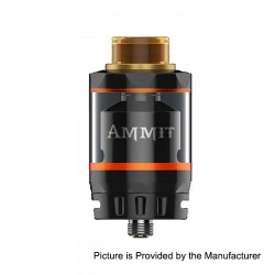 Authentic GeekVape Ammit Dual Coil Version RTA Rebuildable Atomizer - Black, Stainless Steel + Glass, 3ml / 6ml, 27mm Diameter