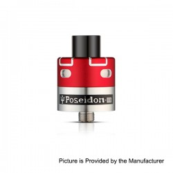 Authentic Poseidon IIII RDA Rebuildable Dripping Atomizer - Red, Stainless Steel, 24mm Diameter