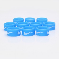 Authentic Vapethink Silicone Anti-slip Ring Vape Band - Blue + White, Nike Pattern, 22mm Diameter (10 PCS)