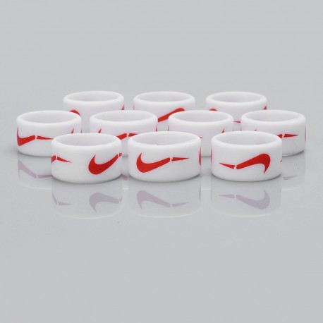 Authentic Vapethink Silicone Anti-slip Ring Vape Band - White + Red, Nike Pattern, 22mm Diameter (10 PCS)
