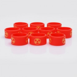 Authentic Vapethink Silicone Anti-slip Ring Vape Band - Red + Yellow, Radioactivity Pattern, 22mm Diameter (10 PCS)