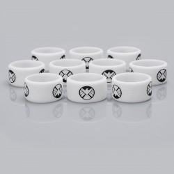 Authentic Vapethink Silicone Anti-slip Ring Vape Band - White + Black, Agents Of Shield Pattern, 22mm Diameter (10 PCS)