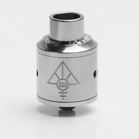 Lost Art Goon Style RDA Rebuildable Dripping Atomizer w/ Wide Bore Drip Tip - Silver, Titanium Alloy, 24mm Diameter
