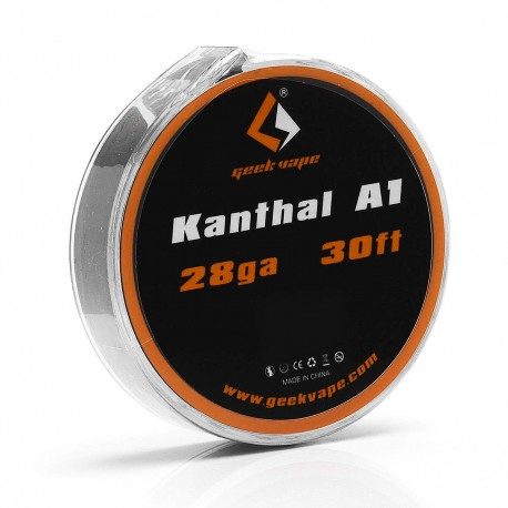 Authentic GeekVape Kanthal A1 28GA Heating Resistance Wire for RBA / RDA / RTA - Silver, 0.3mm x 10m (30 Feet)