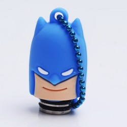 Universal 510 Drip Tip w/ Blue Silicone Batman Sleeve - Random Color, Stainless Steel + Resin, 18.6mm
