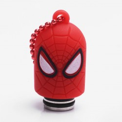 Universal 510 Drip Tip w/ Red Silicone Spider-Man Sleeve - Random Color, Stainless Steel + Resin, 18.6mm