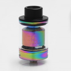 Authentic Wotofo The Troll RTA Rebuildable Tank Atomizer - Rainbow, Stainless Steel + Pyrex Glass, 5ml, 24mm Diameter