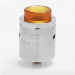 Authentic Advken Ziggs 24 RDTA Rebuildable Dripping Tank Atomizer - Silver, Stainless Steel, 2.5ml, 24mm Diameter