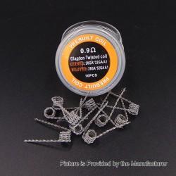Authentic Iwodevape Clapton Twisted Kanthal A1 Prebuilt Coil - (28GA + 32GA) x (28GA + 32GA), 0.9 Ohm (10 PCS)