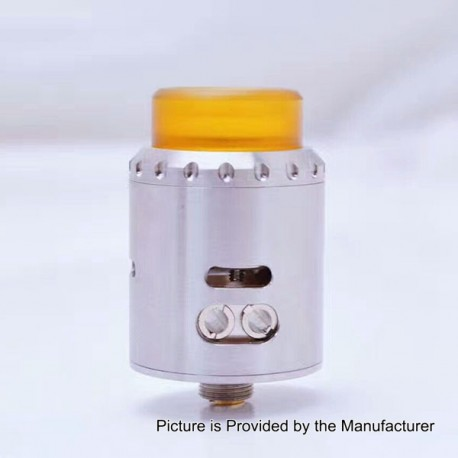 Authentic Blitz Enterprises Musketeer RDA Rebuildable Dripping Atomizer - Silver, Stainless Steel + PEI, 24mm Diameter