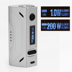 Authentic Smoant Battlestar 200W TC VW Variable Wattage Box Mod - Brushed Silver, 1~200W, 200~600'F (100~300'C), 2 x 18650