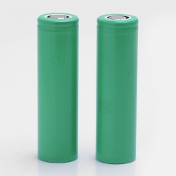 Authentic Samsung INR18650 25R 18650 2500mAh 3.7V Rechargeable Li-ion Flat Top Batteries - (2 PCS)