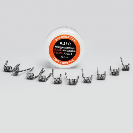 Authentic Iwodevape Half Staggered Fused Clapton Kanthal A1 Prebuilt Coil - (26GA + 32GA) x 24GA + 32GA, 0.27 Ohm (10 PCS)