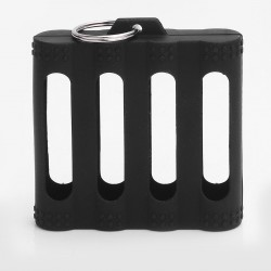 Hollow-out Protective 4-Slot Case Sleeve with Key Ring for 18650 Battery - Black, Silicone