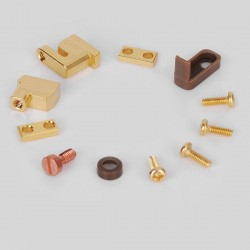 Replacement Positive / Negative Post + Center Screw + Insulators + Clamps for 22mm / 24mm GOON RDA - Gold, Brass + PEEK