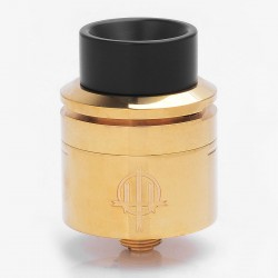Authentic Hellvape Trishul RDA Rebuildable Dripping Atomizer - Gold, Stainless Steel + Brass, 24mm Diameter