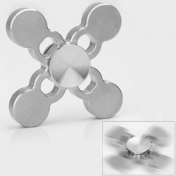 Four-Leaf Clover Shape Hand Spinner Anti-Anxiety Fidget Toy - Silver, Stainless Steel