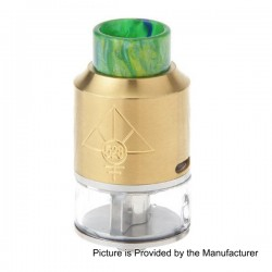 GOON V2 Style RDTA Rebuildable Dripping Tank Atomizer w/ Resin Drip Tip - Gold, Stainless Steel, 3.5ml, 24mm Diameter
