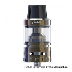Authentic IJOY Captain Sub Ohm Tank Clearomizer - Gun Metal, Stainless Steel, 4ml, 0.3 Ohm, 25mm Diameter