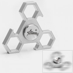 Triangle Hand Spinner Bottle Opener Anti-anxiety Fidget Toy - Silver, Stainless Steel